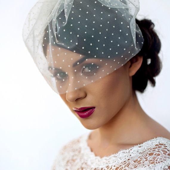 Mariage - Polka Dot Blusher Veil  - Bridal Tulle Birdcage Veil - Polka Dot - Ivory - White