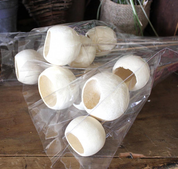 Mariage - 12 Bell Cups Bleached Dried on Stem White Flowers Floral Arrangement  Botanical Wedding DIY Supplies Wholesale