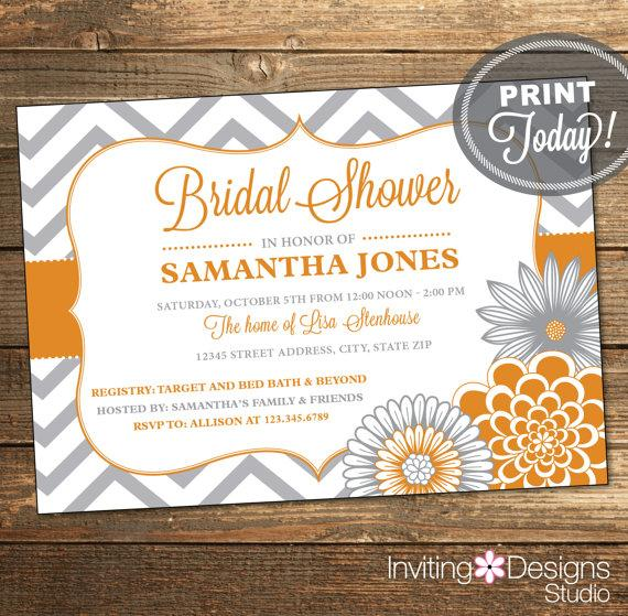 Wedding - Wedding Shower Invitation, Bridal Shower Invitation, Chevron, Floral, Ribbon, Orange, Gray, Grey, Printable (Custom Order, INSTANT DOWNLOAD)