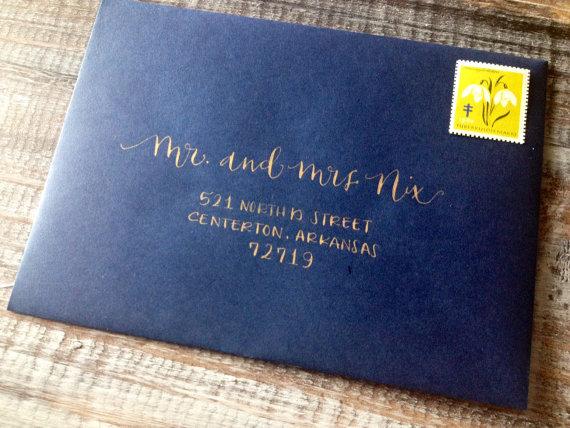 Wedding Calligraphy Envelope Addressing Modern Font Hand Lettered