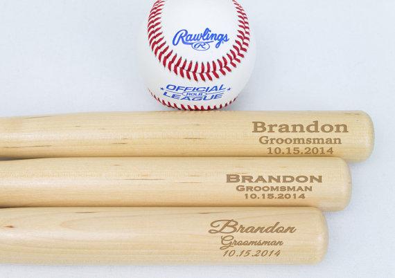 "Baseball Wedding Gifts: Groomsmen Gifts, Engraved 18"" Mini Baseball Bat For Ring"