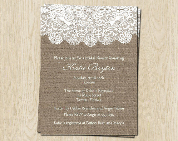 Mariage - Burlap and Lace Bridal Shower Invitations, Wedding, White, Set of 10 Cards Printed with Envelopes, FREE Shipping, WBURLA, Burlap and Lace