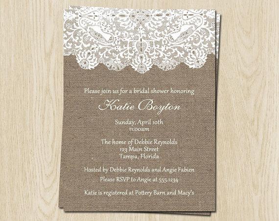 Wedding - Burlap and Lace Bridal Shower Invitations, Wedding, White, Set of 10 Cards Printed with Envelopes, FREE Shipping, WBURLA, Burlap and Lace
