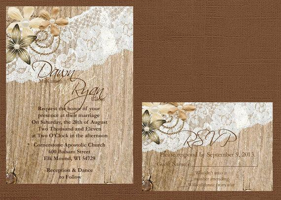 Mariage - Rustic Lace Wedding Invitation, Lace and Wood Wedding Invitation, Vintage Lace Wedding Invitation, Custom