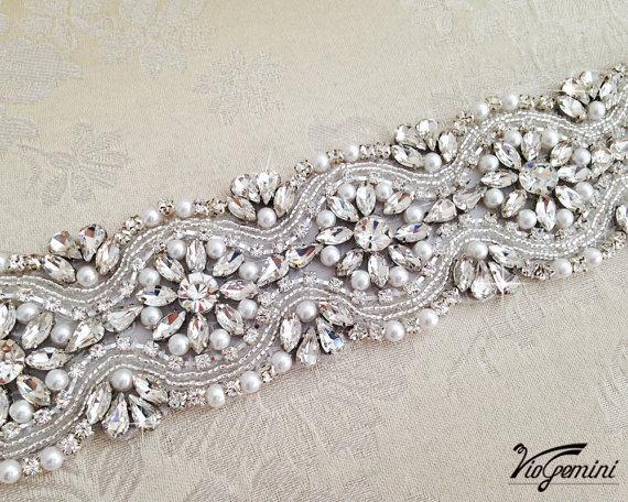 Mariage - READY TO SHIP -  Crystal Bridal Sash, Ivory Wedding Sash, Rhinestones and Crystal Bridal Sash, Beaded Bridal Sash, Jeweled Sash Belt