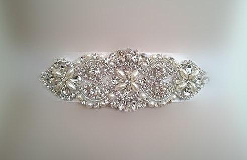 Mariage - SALE - Wedding Belt, Bridal Sash Belt, Bridesmaids Sash Belt, Pearl Crystal Wedding Sash Belt , crystal & pearl