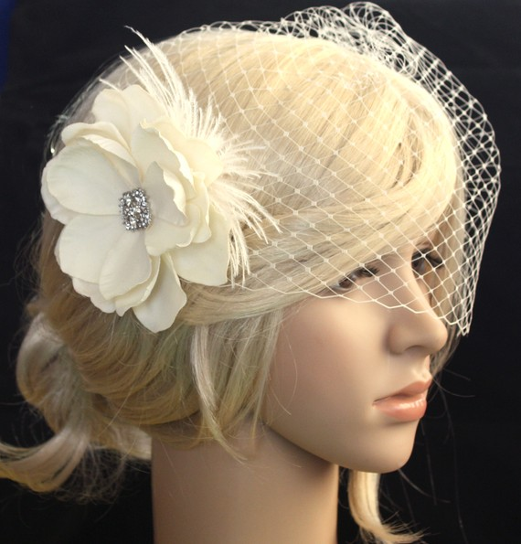 Mariage - Birdcage veil  Blusher and Bridal Fascinator Vintage inspired Russian netting veil hair flower feather - Emily