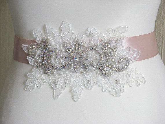 Mariage - Blush sash Blush wedding sash Rhinestone sash Ivory lace sash Ivory blush sash Blush bridesmaids Blush ivory sash Rhinestone bridal sash