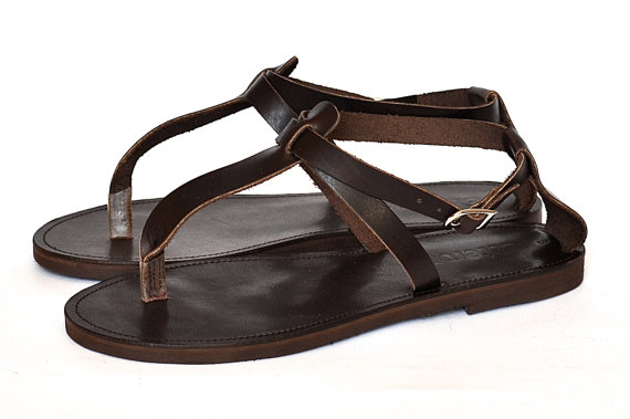 Свадьба - Leather Sandals / Greek Handmade T-strap sandals / Thong women sandal with cross ankle strap