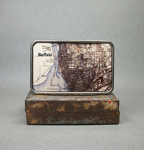 Wedding - Belt Buckle New York Buffalo Map on Metal Unique Gift for Men Groomsmen or Women