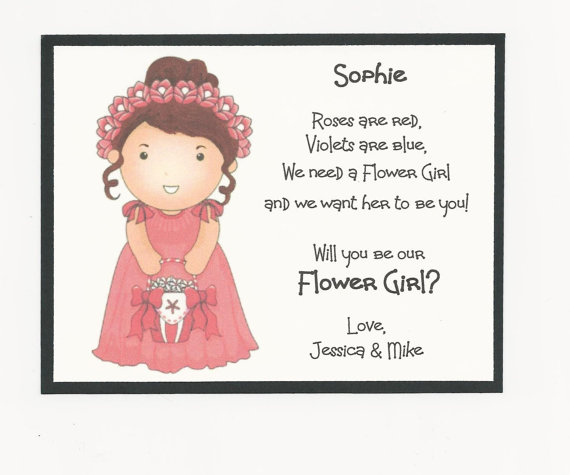 Brunette Sophie Will You Be My Flower Girl Flat Card