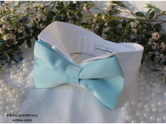 Свадьба - Light Blue Satin Oversized Bow Tie WingtipTuxedo Dog Collar~Custom Made~Dog Wedding Collar~Dog Best Man~Dog Tuxedo~Free Shipping Within USA~