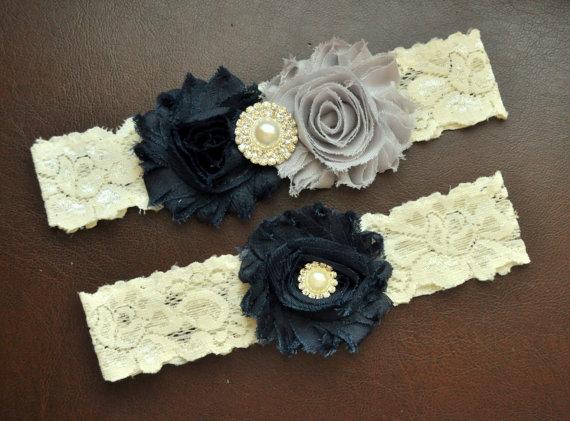 Mariage - Wedding Garter, Bridal Garter Set, Navy Blue Wedding Garter, Navy Bridal Garter, Ivory Lace Garter, Navy Wedding Garter Belt, Navy Garter