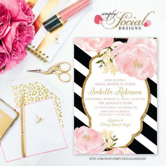 romantic garden peonie flowers blush pink and gold black With black white and blush wedding invitations