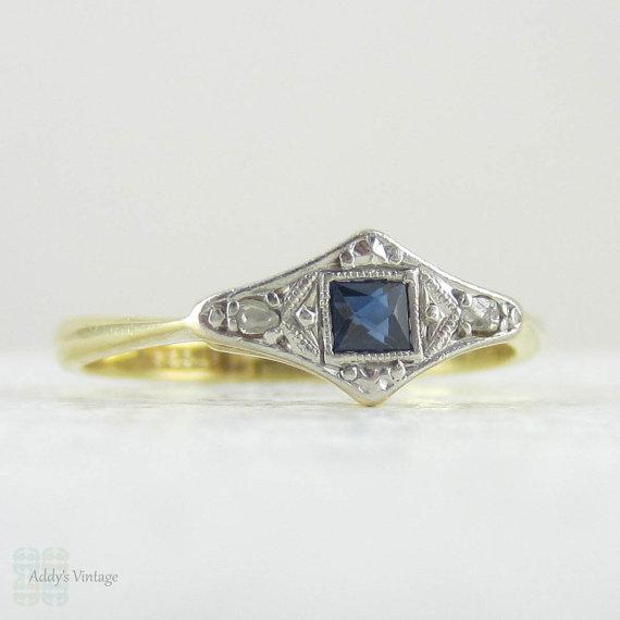 Hochzeit - Art Deco Engagement Ring, French Cut Blue Sapphire & Diamond Trilogy Ring. Circa 1920s, 18 Carat Gold and Platinum.