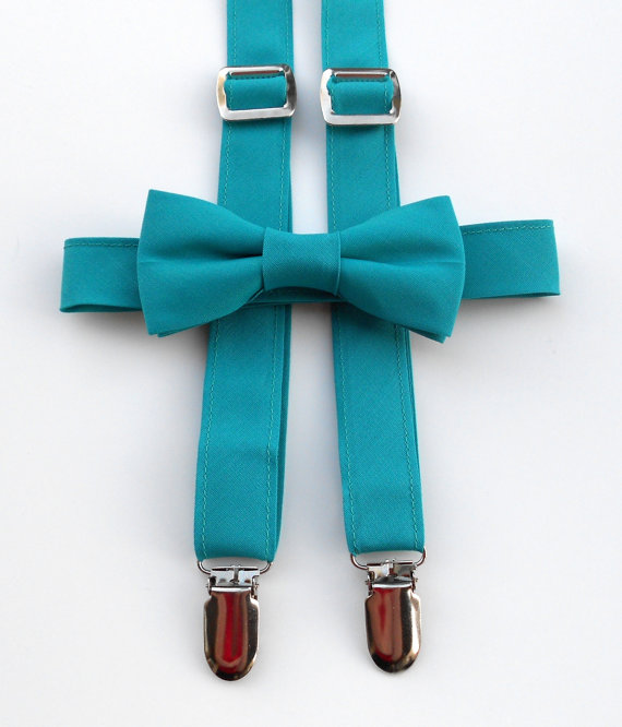 Mariage - Teal Bowtie and Suspender Set - Infant, Toddler, Boy