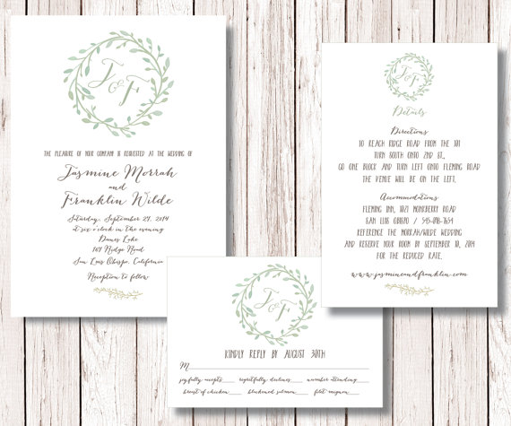 زفاف - Wedding Invitation Suite, Wreath Wedding Invitation, Wedding Invitation RSVP Details Card Printable, Monogram Invitation, Montecito Suite