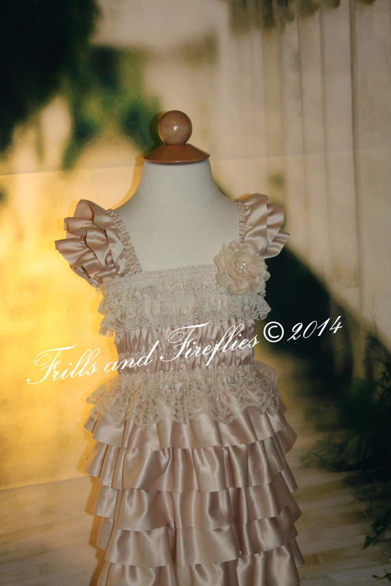 Свадьба - Champagne Layered Satin & Lace Flower Girl Dress, Champagne Ruffles, Satin and Lace Flower Girl Dress..Sz 2t, 3t, 4t, 5t, 6  READY TO SHIP!