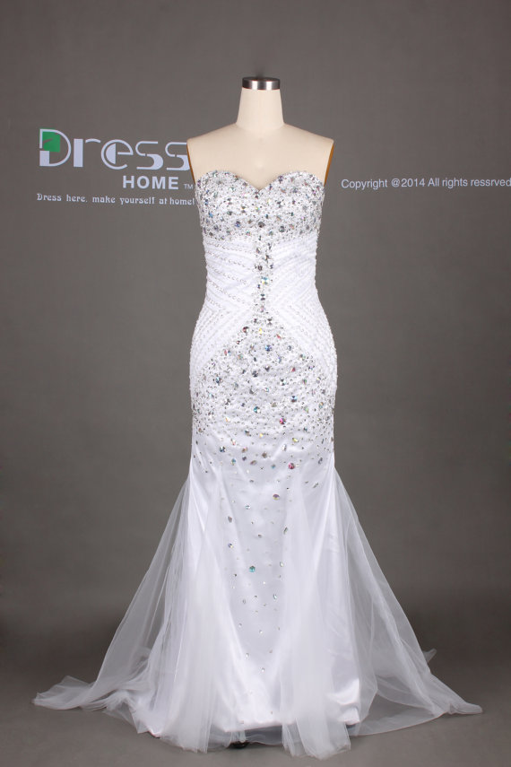 White sweetheart beading mermaid wedding dress rhinestones for White fishtail wedding dress