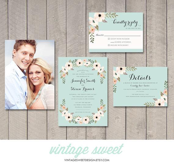 Painted Floral Wedding Invitation RSVP Information Card