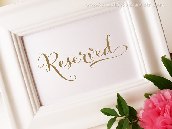 Wedding - Reserved for family Wedding Sign in gold - Reserved Seating, DIY, Printable 5x7 sign - PDF template, DEBI Collection