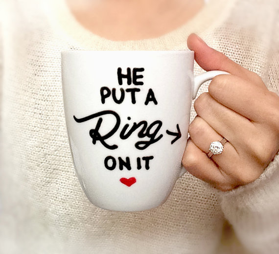 Personalized Mug Engagement Gift Hand Painted He Put A Ring On It Bridal Shower Ceramic Coffee Latte