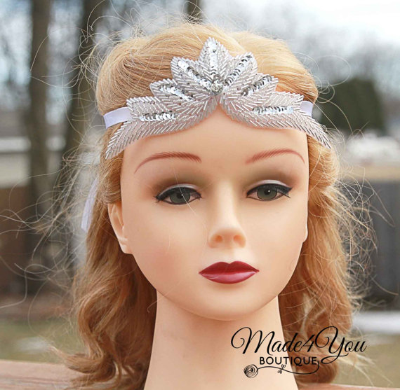 Wedding - Bridal Tiara Ribbon - Beaded Sequin Wedding Veil - Wedding Headpiece