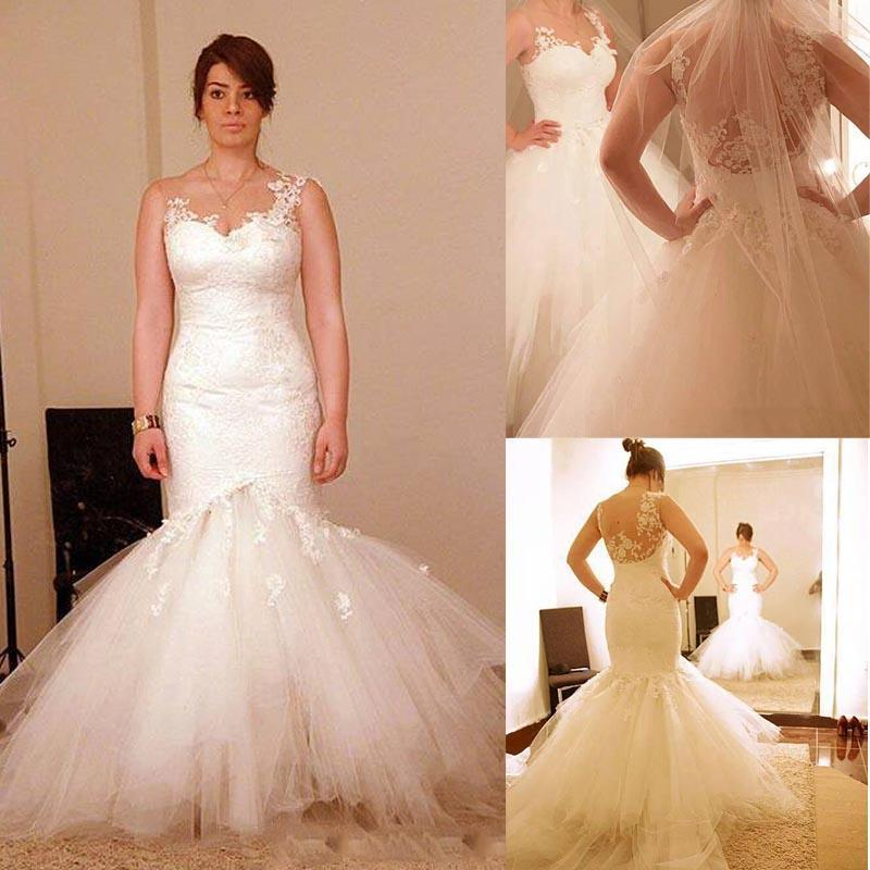 2015 wedding dresses sheer neckline appliques detachable for Mermaid wedding dress with train