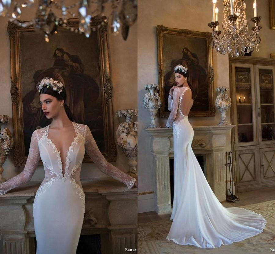 2015 Sexy Mermaid Wedding Dresses Vintage Beach Bridal Gowns with Long  Sleeve Berta Bridal 2014 V-Neck Appliques Backless Bridal Dresses Online  with ... d69e3cf2ca99