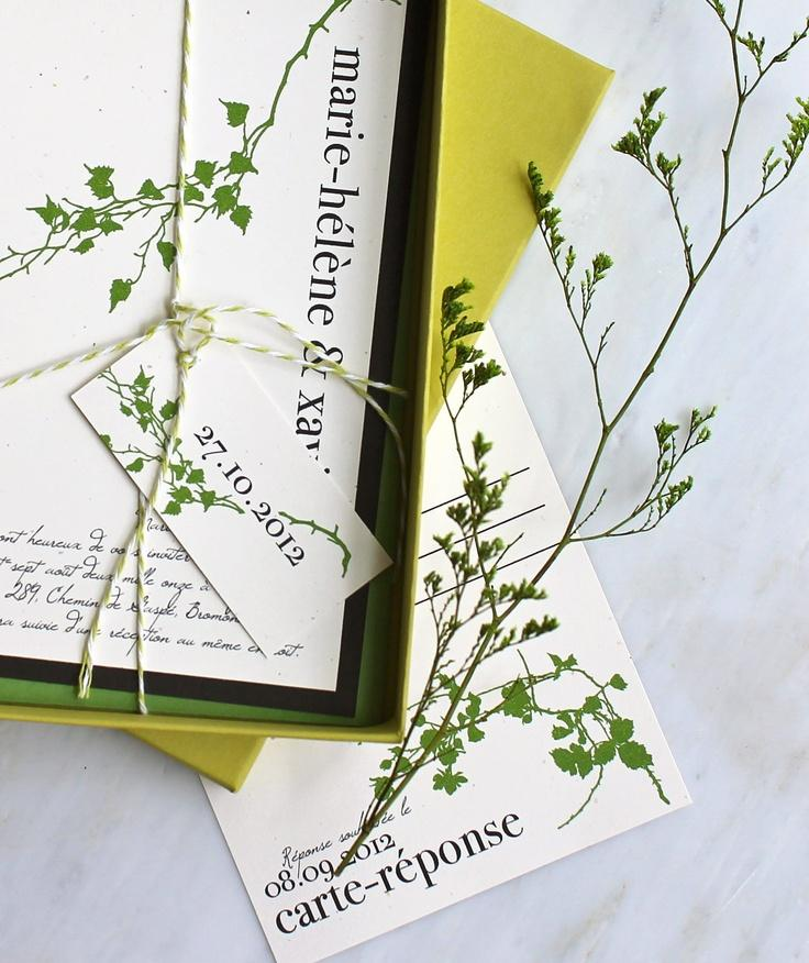 Modern Garden Wedding Invitations, Green Wedding Invitations ...