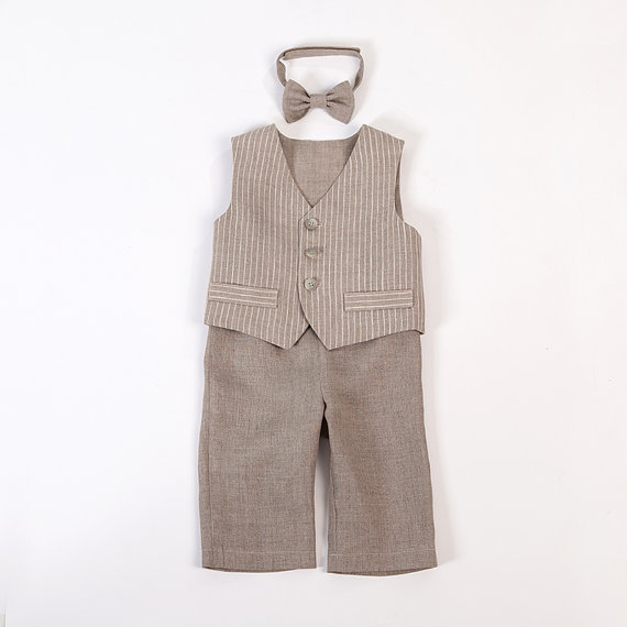 Baby Boy Ring Bearer Outfit Boy Baptism Linen Suit First Birthday ...