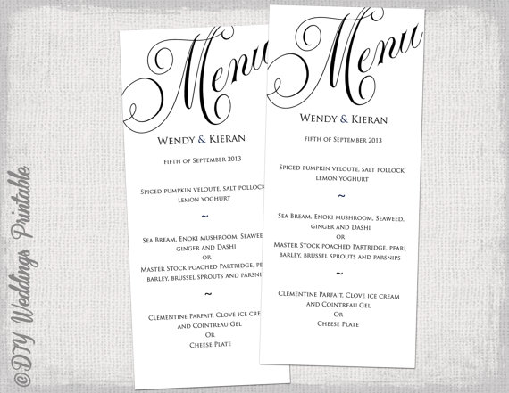 Menu template black and white wedding menu diy wedding for Menu templates for weddings