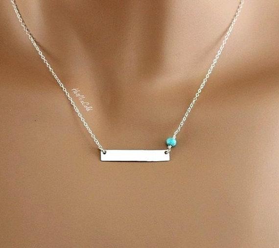 Silver Bar Necklace Personalized Monogram Horizontal