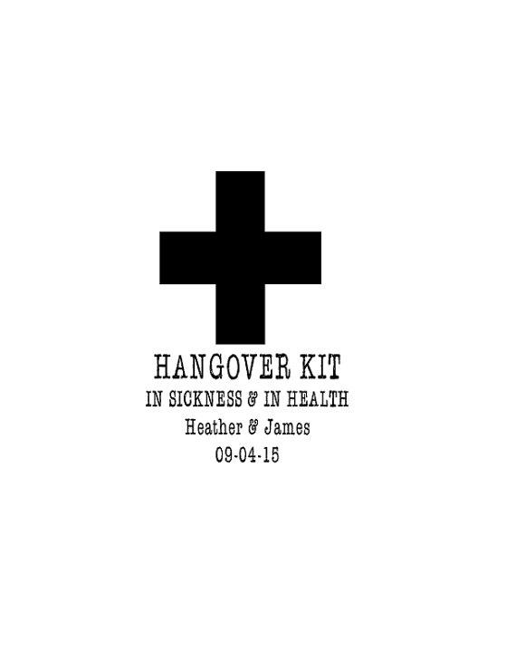 زفاف - Hangover Kit In Sickness and In Health with couples name and date- Custom Rubber Stamp - Deeply Etched - You Choose Size