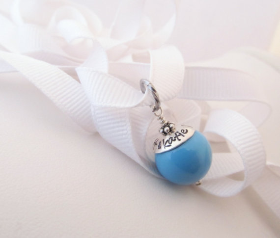 Mariage - Something Blue - Wedding Charm - Personalized and Hand Stamped - Gift for Bride - Bouquet Charm -Wedding Gift - Garter Charm