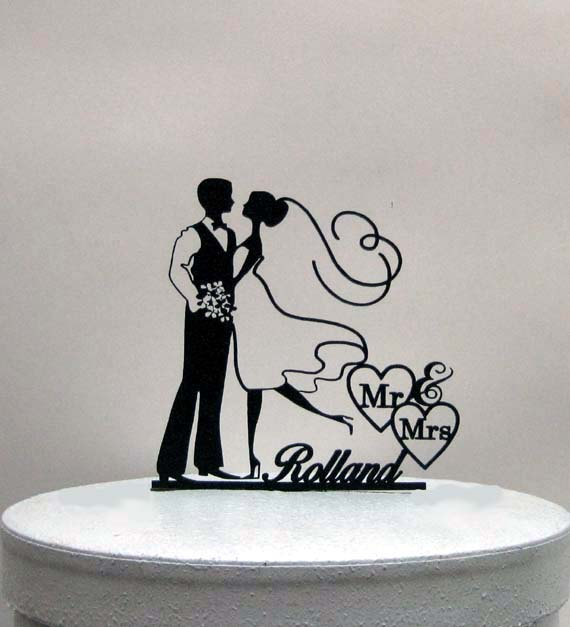 Hochzeit - Custom Wedding Cake Topper - Mr & Mrs Personalized with Last Name