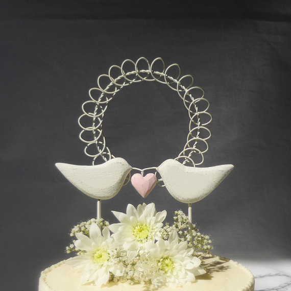 Свадьба - Rustic Wedding Cake Topper,  Shabby Chic Cake Topper with Love Birds, Hand Carved White Wedding or Anniversary Decor