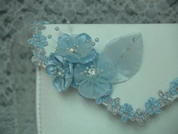 Mariage - BLUE Wedding Clutch Shoes to match Clutch MANY colors options
