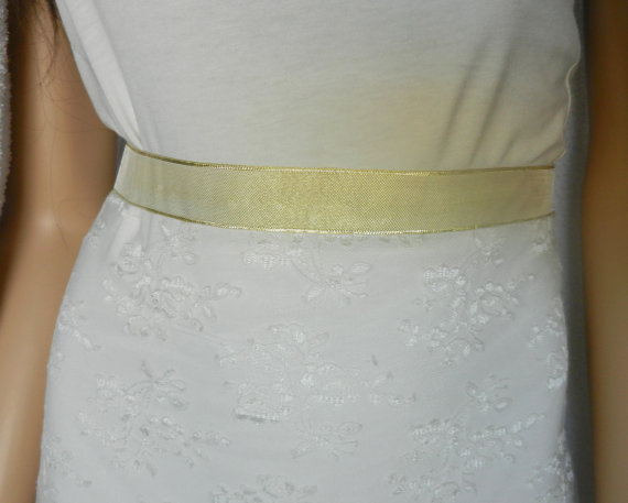 Sash bridal wedding dress sash belt gold sash wedding for Gold belt for wedding dress