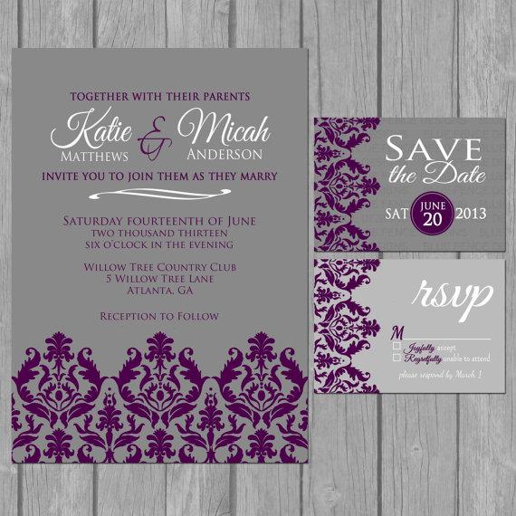 Simple Wedding Invitation Modern Dark Purple Damask Wedding