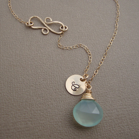 Mariage - Personalized Chalcedony Necklace and Infinity Hammered Pendant all GOLD FILLED bridal, wedding necklace, everyday jewelry