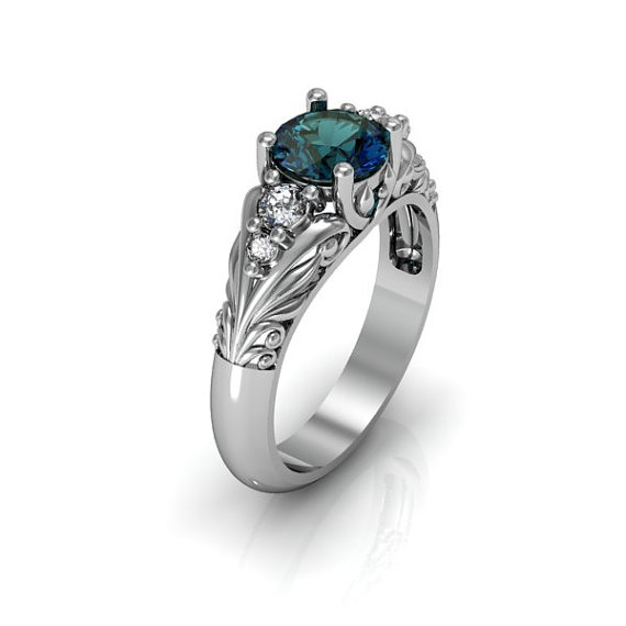 Mariage - Art Deco Ring -  Antique Style Sterling Silver Created Alexandrite Floral  Engagement  Wedding Anniversary and Promise Solitaire Ring