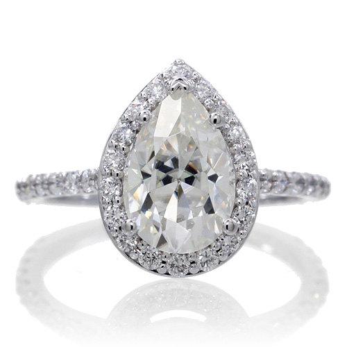 custom white gold pear shape cut diamond halo forever