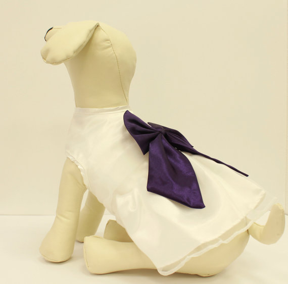 Hochzeit - White Dog Dress, Purple Bow, Dog Birthday gift, Pet wedding accessory, dog clothing, Chic, classy, Purple and White dress