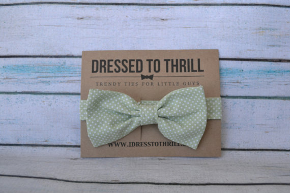 Hochzeit - Light Pastel Green with White Polka Dots Adjustable Baby / Toddler / Child Bow Tie