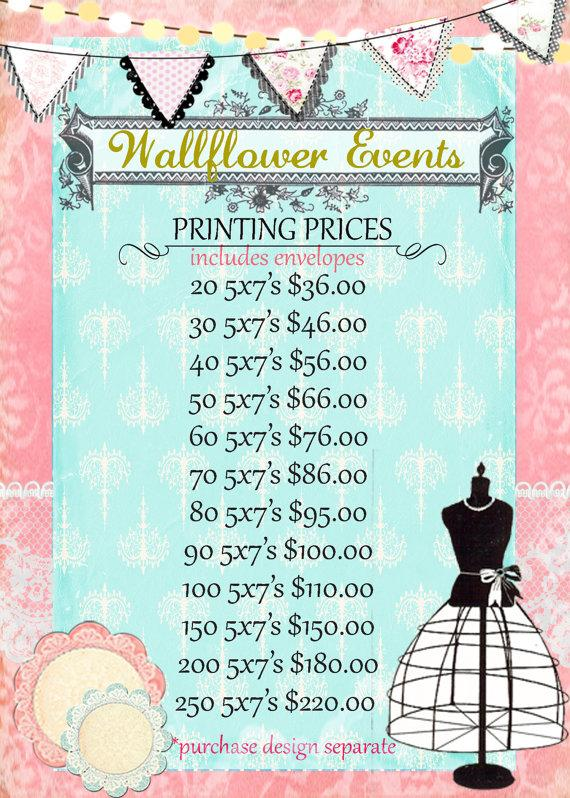 Wedding - Printing Prices for Wallflower Events 5x7 size. Prices Include Envelopes! *** Don't forget to add your chosen design to your cart also :)
