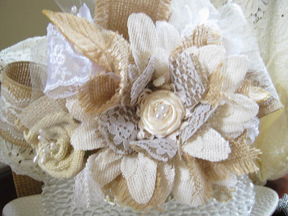 Burlap Lace Flower Cake Topper Shabby Rustic Country Victorian Wedding Ceremony Pearl Accents Ivory White