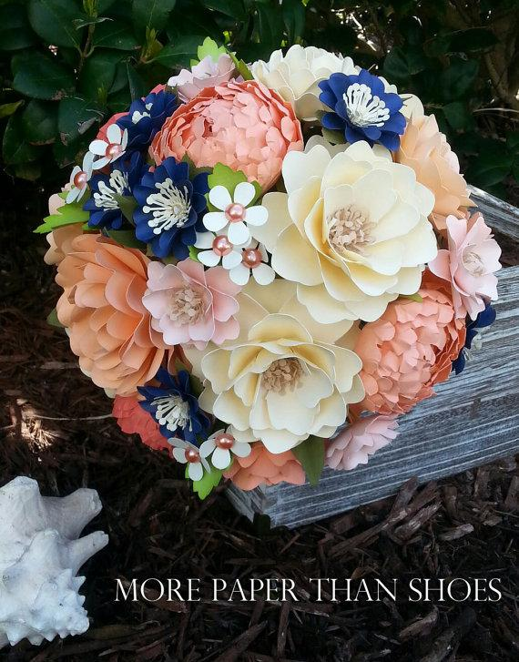 Hochzeit - Paper Bouquet - Paper Flower Bouquet - Wedding Bouquet - Shades of Peach and Navy Custom Made - Any Color