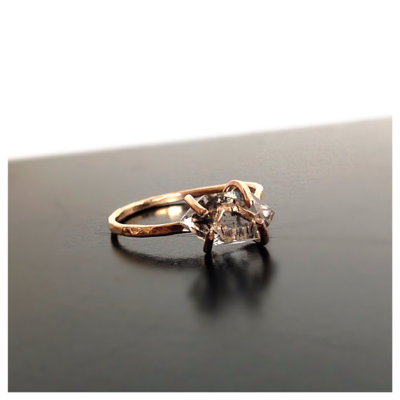 Raw Herkimer Diamond Rose Gold Ring Engagement Ring Diamond