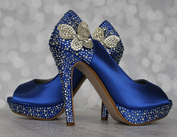 Свадьба - Wedding Shoes -- Royal Blue Peep Toe Wedding Shoes with Silver and Blue Rhinestones  and Silver Rhinestone Butterflies on the Ankle